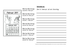 Arbeitsblätter Kalender 2011 (Arbeitsblatt) in der Grundschule ...