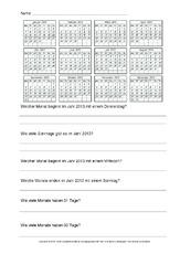 Arbeitsblatt für Stillarbeit in der Grundschule - Kalender ...