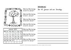 arbeitsblatt in der grundschule kalender material klasse 2. Black Bedroom Furniture Sets. Home Design Ideas