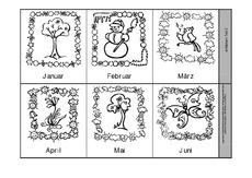monate arbeitsblatt in der grundschule leporello monate leporellos kalender material. Black Bedroom Furniture Sets. Home Design Ideas