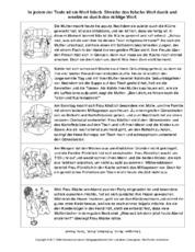 Arbeitsblatt in der Grundschule - Arbeitsblätter-Lesetraining ...