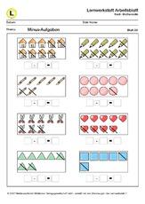 zr 10 minus aufgaben lernwerkstatt arbeitsbl tter arbeitsbl tter mathe klasse 1. Black Bedroom Furniture Sets. Home Design Ideas