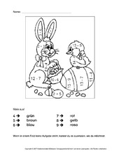 Ostern-Rechnen und malen - Arbeitsblätter - Mathe Klasse 1 ...