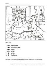 rechnen und malen arbeitsblatt in der grundschule arbeitsbl tter mathe klasse 1. Black Bedroom Furniture Sets. Home Design Ideas