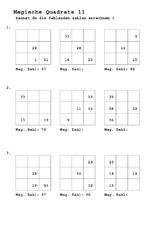 Magische Quadrate A - Arbeitsblätter - Mathe Klasse 2 ...