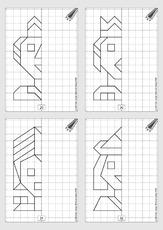 geometrie in der grundschule gespiegelte gitterbilder gitterbilder geometrie mathe. Black Bedroom Furniture Sets. Home Design Ideas
