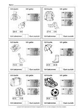 arbeitsblatt in der grundschule rechnen mit geld mathe klasse 2. Black Bedroom Furniture Sets. Home Design Ideas