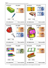 euro arbeitsblatt in der grundschule mathe unterrichtsmaterial. Black Bedroom Furniture Sets. Home Design Ideas