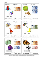Einkaufen (Arbeitsblatt) in der Grundschule - Einkaufen-Geldbeträge ...
