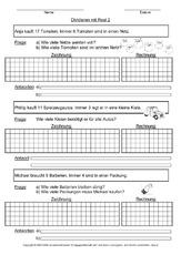 Division in der Grundschule - Sachaufgaben - Mathe Klasse 2 ...