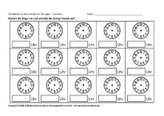 Uhr lernen arbeitsblätter  interaktive Übungen ABs - Uhrzeit - Mathe Klasse 2 ...
