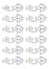 Arbeitsblatt in der Grundschule - Dominorechnen mit Fischen ...