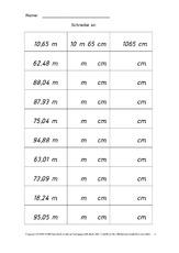 arbeitsblatt in der grundschule kilometer meter zentimeter rechnen mit gr en mathe klasse. Black Bedroom Furniture Sets. Home Design Ideas
